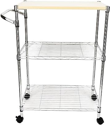 Aromzen 3-Tier Steel Rolling Kitchen Trolley Cart Storage Serving Island Utility Silver