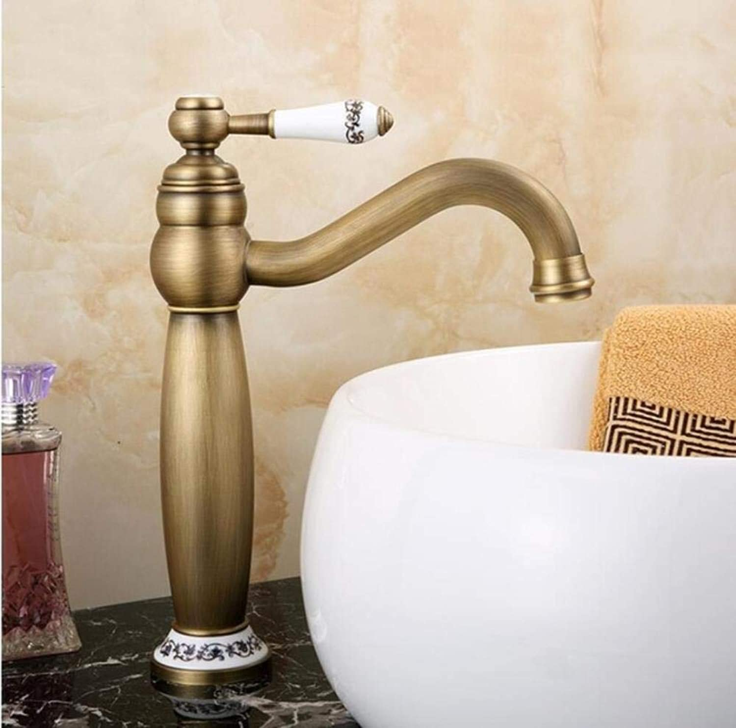 Kai&Guo Basin Faucets gold Solid Brass Bathroom Sink Faucet With Ceramic Single Handle Hole Wash basin Mixer Tap WC Taps,antique tall