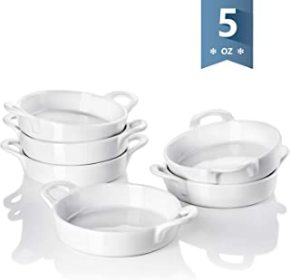 Sweese 507.001 Porcelain Ramekins, 5 Ounce Ramekins for Baking, Round Creme Brulee Dish with Double Handle-Set of 6, White
