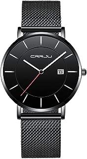 CRRJU Men's Quartz Watches Waterproof Calendar Slim Watch for Men (Black Black)