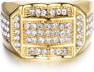 مجوهرات فاخرة للرجال خاتم مقلد بنمط مغنو الهيب هوب مطلي بالذهب، مقاس US 10