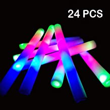 YJOY LED Foam Glow Sticks-24PCS Light Up Foam Baton Glow in The Dark Party Supplies with 3 Flashing Modes for Festivals Rave Birthday Wedding Halloween Christmas
