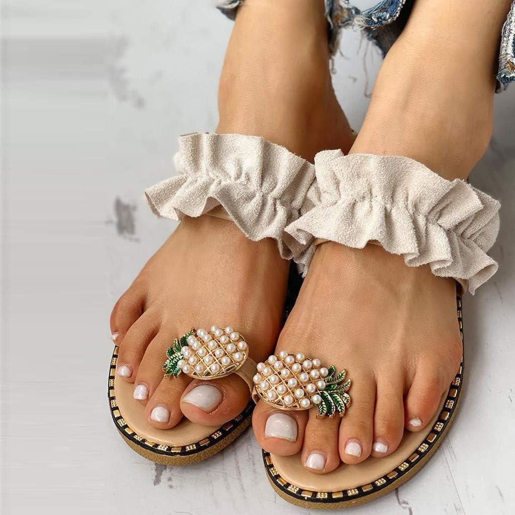 Xudanell Womens Sandals Sparkly Pineapple Pearl Rhinestone Flat Flip Flops Bohemian Pearl Slip On Slides Sandals for Women