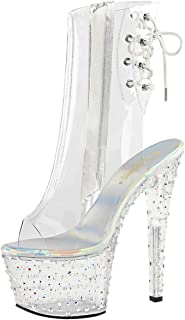 c577efb62e27 Summitfashions Womens High Heeled Boots Silver Rhinestone Shoes Clear  Booties 7 Inch Heels