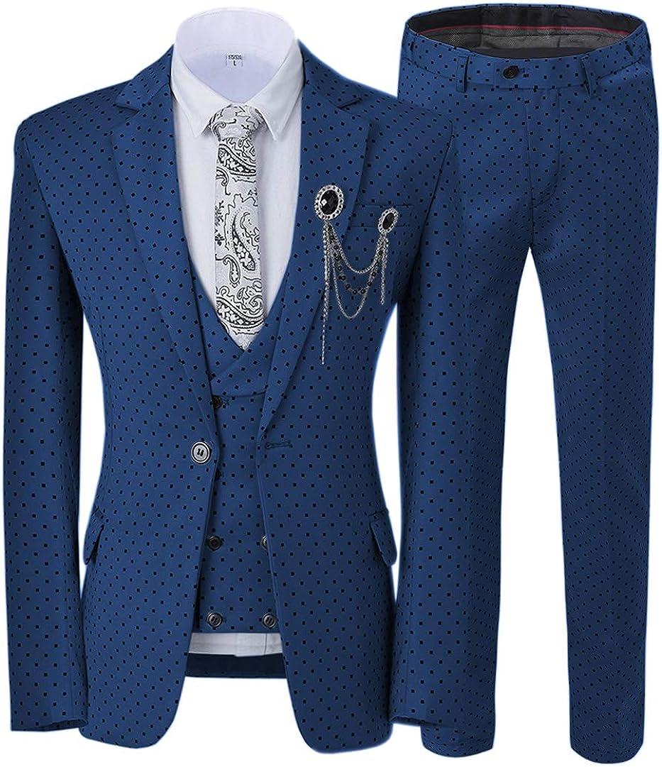 公式通販 Ceehuteey Mens Suit 3 Piece Notch Wedding 購買 Lapel Polka Dots