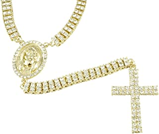 NIV'S BLING - 14k Yellow/White/Black Gold-Plated Iced 2 Row Rosary Necklace