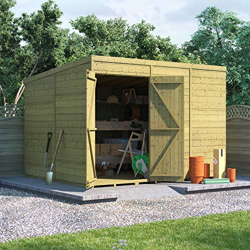 BillyOh Expert Tongue and Groove Pent Workshop   Pressure Treated Wooden Garden Shed   Floor and Roof Included - 10x8