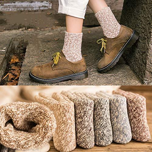 YUEG Women's Thick Socks Medium Tube Socks Thermal Terry Socks Cushion Casual Crew Calf Dress Socks Middle Tube Breathable Cotton Socks for Ladies Sleeping Floor Confinement Winter Multipack 5 Pairs