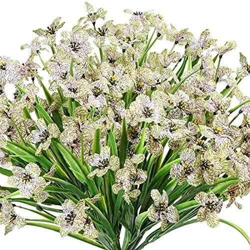 YYHMKB 6 manojos de flores artificiales para exteriores resistentes a los rayos UV, flores falsas, no se decoloran, plantas de plástico sintético, jardín, porche o ventana decorativa verde