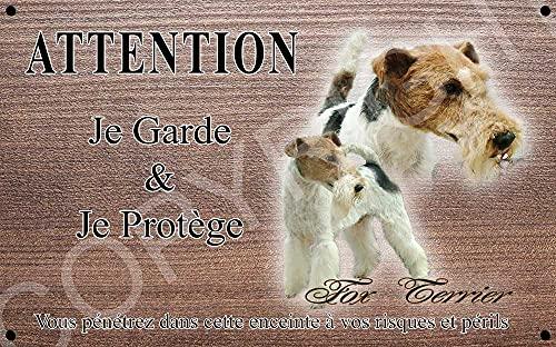 Pets-Easy.com Panneau Attention au Chien personnalisée Chien Fox Terrier - pré percée et vis livrées. De 30 cm à 15 cm…