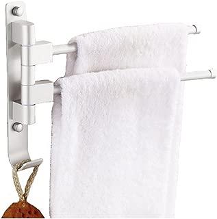 MOCOFO Double Towel Rack, Bath Holder Swing Out Swivel Towel Bar Space Aluminum Steel Racks Space Saving Organizer for Bathroom Hand 2 Bars Folding Arm Hanger Holder Wall Mount Polished Finish
