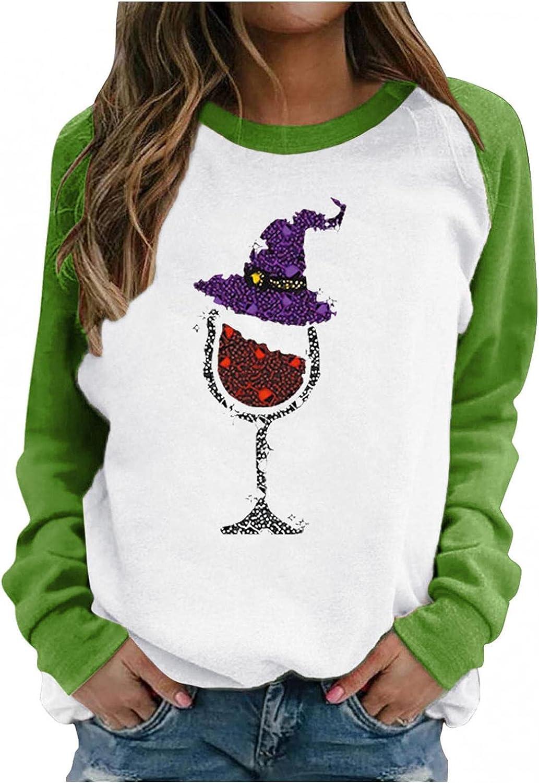 Hotkey Sweatshirt for Women, Womens Crewneck Sweatshirts Long Sleeve Tops Wine Glass Hat Print Pullover Casual Blouse T-Shirt