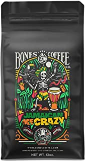 Bones Coffee Company Flavored Coffee Beans, Jamaican Me Crazy Ground Coffee, Low Acid Medium Roast Gourmet Coffee Beans in...