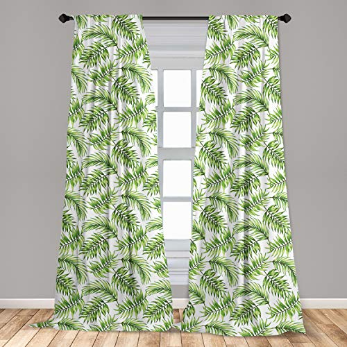 """Ambesonne Palm Leaf Window Curtains, Exotic Pattern with Tropical Leaves in Watercolor Art Style Jungle Luau Hawaii, Lightweight Decorative Panels Set of 2 with Rod Pocket, 56"""" x 84"""", Fern Green"""