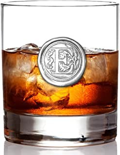 English Pewter Company 11oz Old Fashioned Whiskey Rocks Glass With Monogram Initial - Unique Gifts For Men - Personalized Gift With Your Choice of Initial (E) [MON105]
