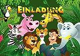 '12tarjetas de invitación 'Animales de Zoo/Cumpleaños invitaciones Joven Chica Niños: 12Juego de invitaciones para los niños Cumpleaños en zoo/Safari Park/Casa De La Selva De Edition Colibri (10968)