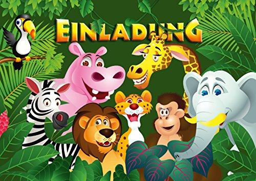 """10 Einladungskarten\""""ZOO-TIERE\"""" / Geburtstagseinladungen Jungen Mädchen Kinder: 10-er Set Einladungen für den Kindergeburtstag im Zoo/Safaripark/Regenwaldhaus von EDITION COLIBRI (10968)"""