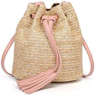 Straw Bags for Women Circle Beach Handbags Summer Rattan Shoulder Bags Handmade Knitted Travel Big Totes Bag,Pink,S