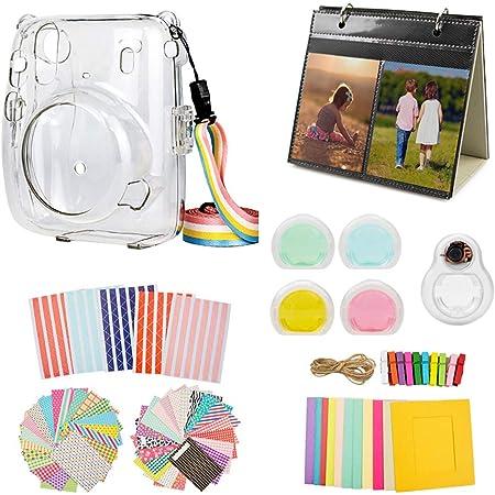 MUZIRI KINOKOO Mini 11 paquete de accesorios para Fujifilm Instax mini 11 funda protectora con 8 accesorios útiles kit de bolsa de cámara, 4 colores filtro lente transparente+lente selfie blanco