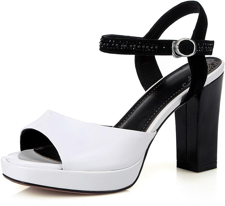 AdeeSu Womens Sandals Peep-Toe Buckle Adjustable-Strap High-Heel Cold Lining Solid Smooth Leather Huarache Cushioning Urethane Sandals SLC03501