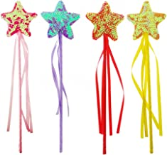 UTOPP Fairy Star Princess Wands Kids Party Favors Shiny Glitter Dress Up Party Supplies Thanksgiving Day for Kids 4 Pack