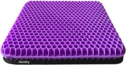 Gel Seat Cushion, Double Thick Gel Cushion for Long Sitting with Non-Slip Cover, Breathable Honeycomb Chair Pads Absorbs P...
