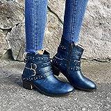Mujer Botas Vintage Otoño Botines Romanos de Punta Puntiaguda con Hebillas Tachuelas Botines Cortos Zapatos de tacón bajo Botas,Azul,37