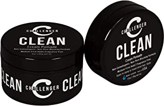 Clean Matte Cream Pomade - Unscented, Non-Comedogenic - Challenger Clean Combo - Medium Firm Hold - Non-Pore Blocking, Shine Free, Water Based. Fragrance Free Hair Wax, Fiber, Paste in One