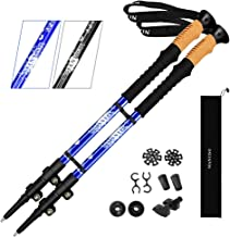 NIANYISO Hiking Poles Collapsible Lightweight, Trekking Poles for Women Men Kids- Walking Sticks Strong 7075 Aluminum with Cork Grip Extra EVA Foam-2 Pack