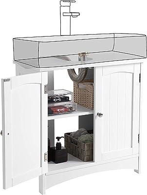 VASAGLE Meuble sous lavabo, Meuble de salle de bain, Placard de rangement, 2 portes battantes, 1 étagère réglable, espace de rangement, sur pied, style cottage, Blanc BBC01WT