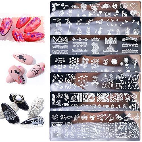 Nail Art Stamping Plate, 8 pièces Nail Art Print Tool, Acier Inoxydable Licorne Fleur Oiseau Dentelle Animaux Motif Clous Plaques d'Estampage, Femmes Bricolage Nail Art Stamper Plaque Outil