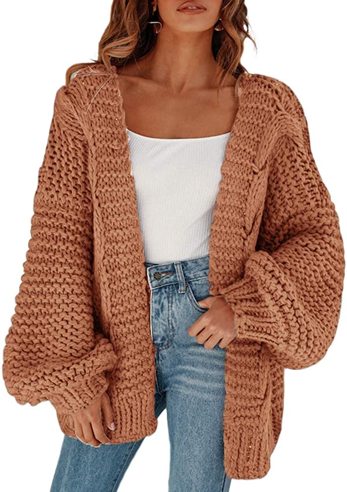 Remikstyt Womens Valentine's Day Sweaters Chunky Cable Knit Oversized Cardigans