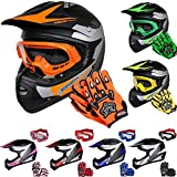 Leopard LEO-X19 Kinder Motocross MX Helm { Motorradhelm + Handschuhe + Brille} Orange M (51-52cm)...