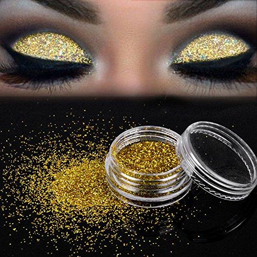 Sombras De Ojos, Maquillaje brillante Brillo Polvo suelto Sombra de ojos Pigmento de sombra de ojos dorado