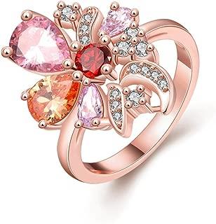NEVI Multicolor Flower Rose Gold A5 Grade Zircon Crystal Ring for Women (Multi Colour)