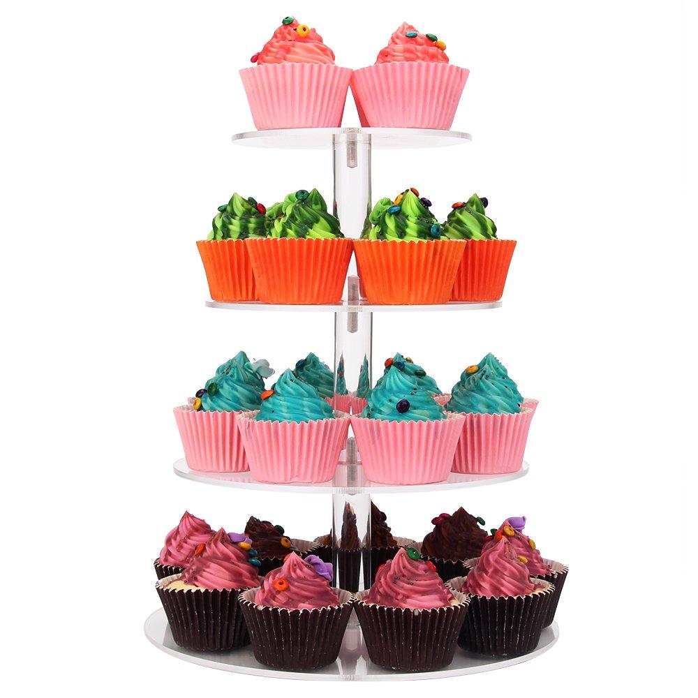 Weddingwish 4 Tier Round Acrylic Cupcake
