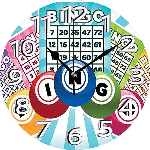 BeeTheOnly Reloj de Pared Bingo Ilustración Colorida de cartones de Bingo Bolas en Rayos de Sol Azules Estilo Retro, Azul pálido Dormitorio Sala de Estar Cocina Reloj para el hogar 9.5in