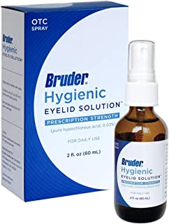 Bruder Hygienic Eyelid Solution – 0.02% Pure Hypochlorous Acid Spray Formula Helps Cleanse and Soothe Eyelids and Eyelashes 2 fl. oz. (60mL)…