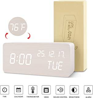 BlaCOG Digital Alarm Clock with Wooden Desk LED Time, Week, Date/Month/Year and Temperature Display, Battery/USB Powered, 3 Alarm Settings, Adjustable Brightness White/White