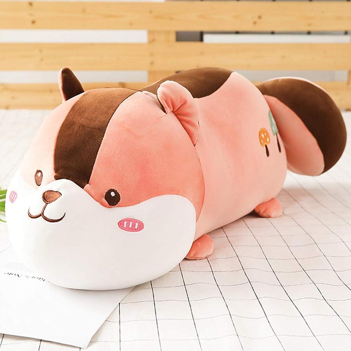 時系列振るうモットーネズミ 抱きまくら ふわふわ ぬいぐるみ キャラクター かわいい 鼠 リス 萌え 癒し 子供 彼女へ 添い寝 気持ち 多機能 クッション 背もたれ ベッド ソファー お誕生日 お祝い プレゼント ギフト ピンク45CM