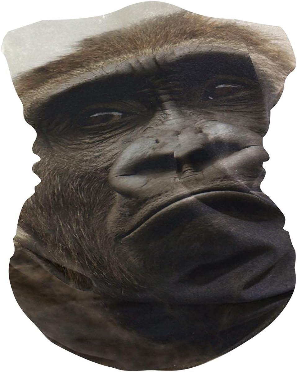 Neck Gaiter Gorilla Moneky Black Wild Animal Face Mask Balaclava Bandana Dust Face Protector Headband Scarf Headwear for Outdoor Activities Cycling Travel