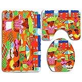 Set de alfombrillas de baño Mercado tradicional de alimentos al aire libre en la alfombra Contour Tapa de la tapa del inodoro en forma de U, antideslizante, lavable a máquina, juego de alfombras de 3