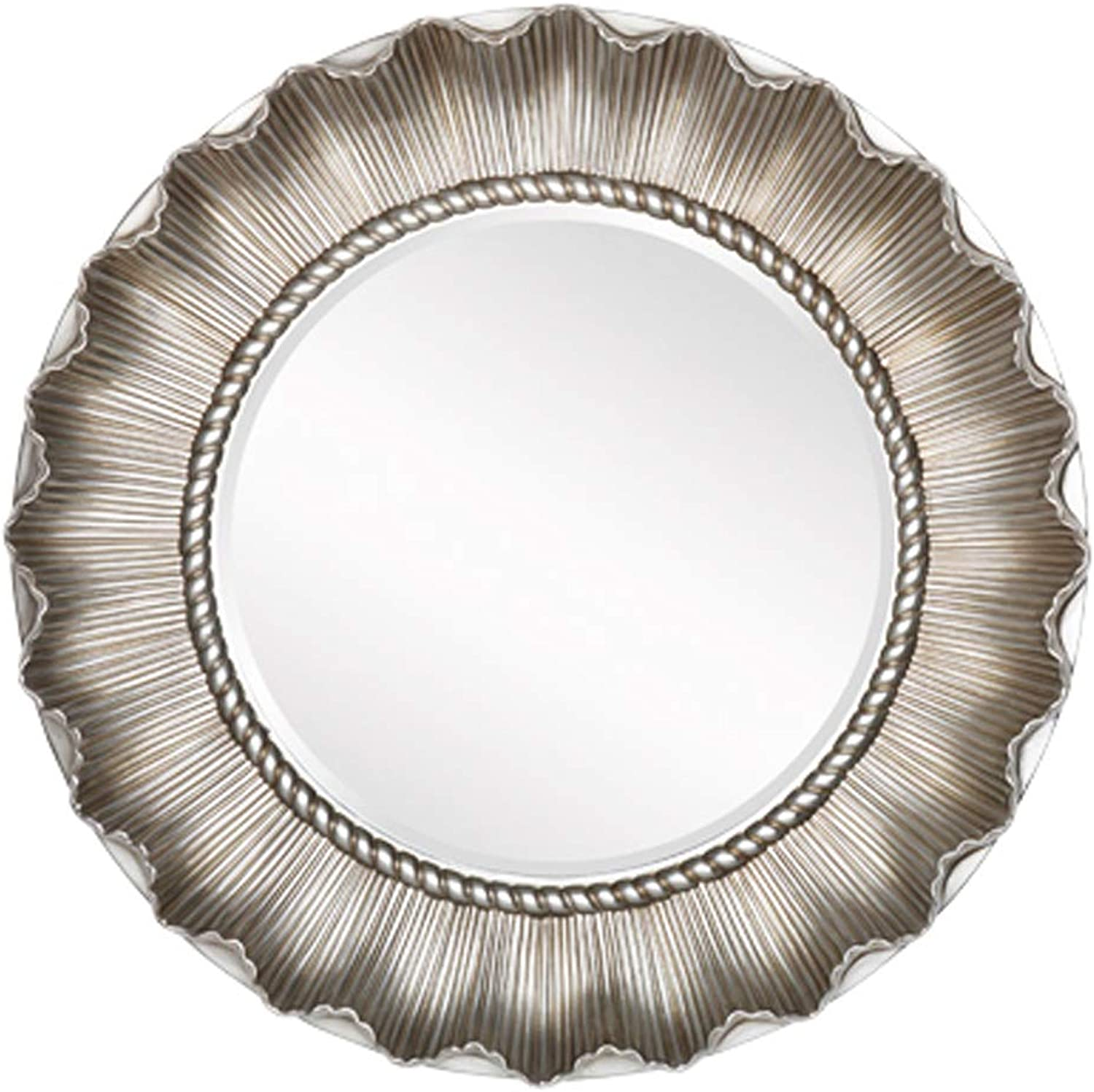 Decorative Mirror Round Silver Vintage Frame 65CM(26Inch) Bathroom Vanity Makeup Art Mirror Entry Diningroom Bedroom Livingroom