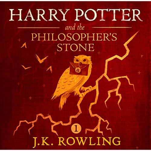 Harry Potter and the Philosopher's Stone, Book 1 cover art, an owl clutching a letter perches on a branch that looks like a lightning bolt