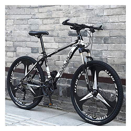 YCHBOS 26' Bicicleta de Montaña Unisex, Hombre y Mujer MTB Bike con Asiento Ajustable, 27-Stage Shift, Frenos de Disco, 3 Cortadores Rueda, Horquilla Delantera BloqueableBlack White