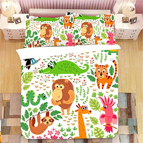 JOEYFAYE Children Cartoon Dinosaur Duvet Cover 200 * 220Cm, Microfiber Bed Ding Set With Pillowcase 50 * 75Cm, Zipper Closure. Cartoon Animals1