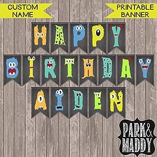 AprilLove Custom Little Monster Birthday Banner with Name // Monster Party // Monster Decorations // Printable Happy Birthday Banner/UNFRAMED Poster