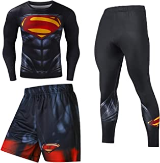 Men's Long Sleeve Base Layer Compression Athletic Underwear Shirt Tights Top Bottom Set Base Layer for Male Dry Moisture-W...