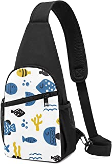 PGTry - Mochila bandolera con diseño de personajes de pescado, ligera, para llevar al hombro, bolsa cruzada, para viajes, ...
