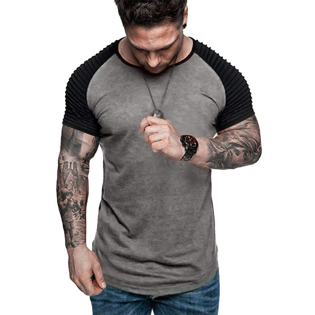 Men/'s Gym Summer Casual Fiber Round Collar T-Shirt Top Undershirts  Solid Color